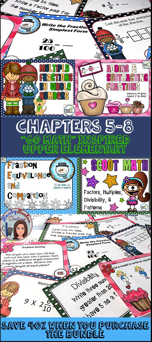Go Math inspired chapters 5-8 4th Grade Elementary classroom activity. Great for reviewing before the big test!!