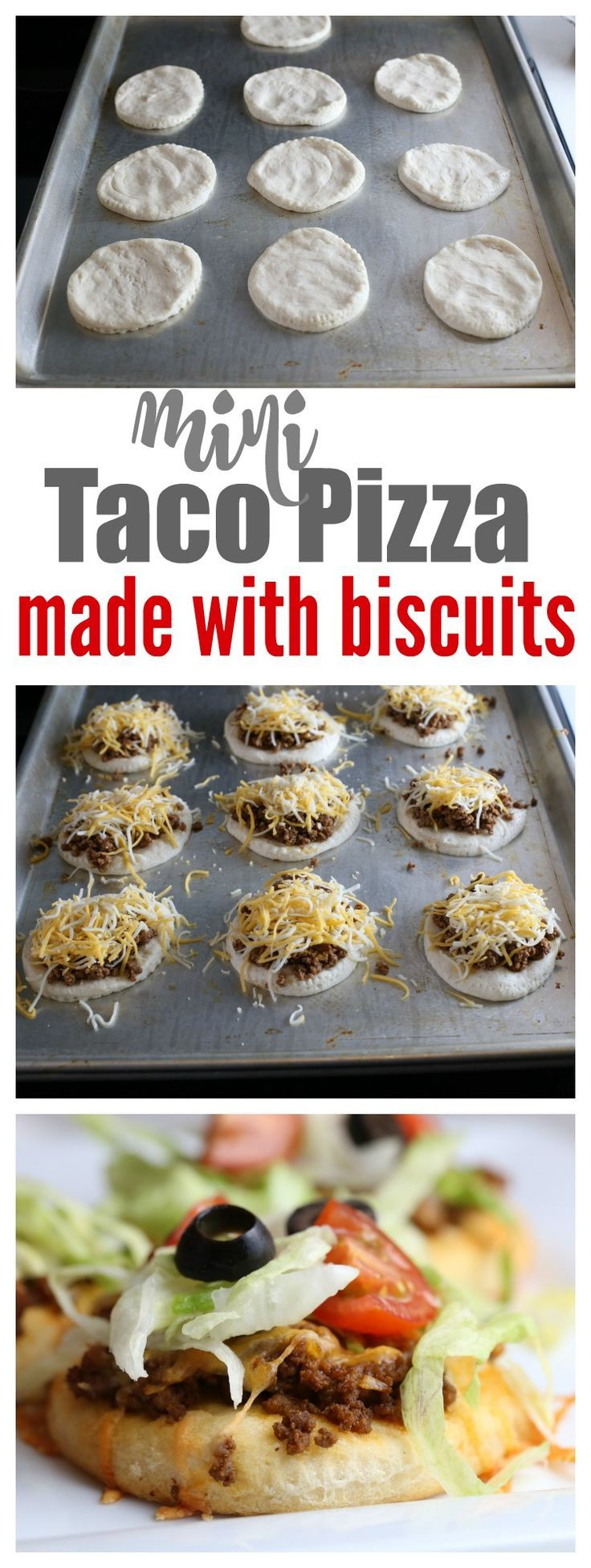 What's better than a delicious cheesy Taco Pizza? One that you make in a matter of minutes by using refrigeratorbiscuits! My kids love to help in the kitchen and make these because they can add the toppings they want! Whenever I have the chance to order pizza when we're out, I also look for Taco...