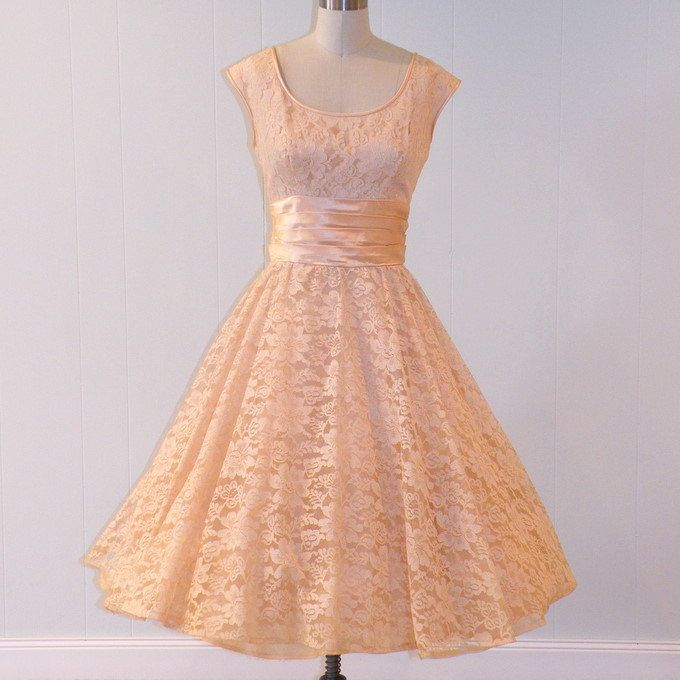 HOLD Vintage 50s Dress, Peach Floral Lace Formal Garden