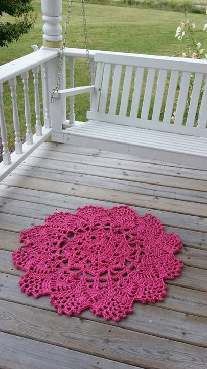 Crochet Doily Rug  French Country Lace Round Rug by nellybeanco, $95.00