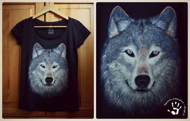 Ręcznie malowana koszulka z wilkiem. #wilk #wolf #koszulka #tshirt #ręczniemalowane #art #koszulkazwilkiem #wilknakoszulce #koszulkadamska #black #inspiration #ideas #beautiful