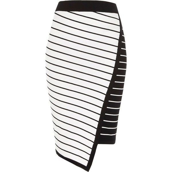 River Island White asymmetric stripe midi pencil skirt ($34) ❤ liked on Polyvore featuring skirts, white, sale, women, stretch pencil skirt, white knee length skirt, patterned pencil skirt, bodycon skirt and knit midi skirt