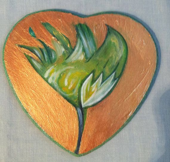 Tulip on a heart shaped sign by 5thDimensionalArt on Etsy