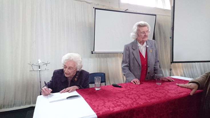 Bletchley Park veteran Mary Every answers questions while Charlotte Webb signs a book or two. http://amzn.to/21lWVc6