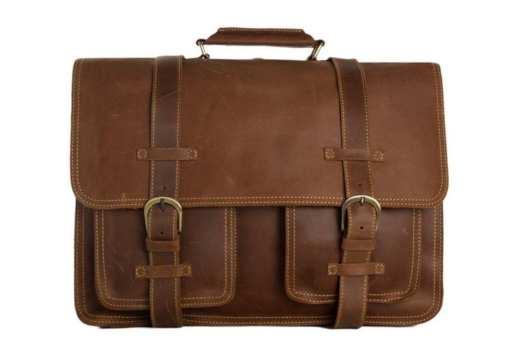HANDMADE VINTAGE STYLE TOP GRAIN REAL LEATHER TRAVEL BAG DUFFLE BAG MEN'S BUSINESS BRIEFCASE BACKPACK