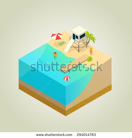 beach with lifeguard tower, shark and mole, isometric illustration