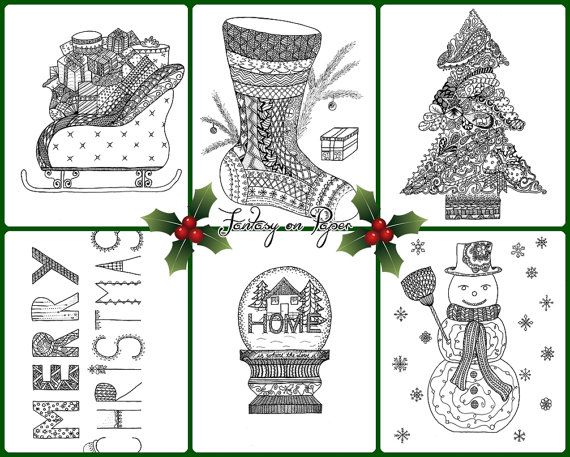 Zentangle Christmas coloring book for adults, hand drawn, instant download! Art, drawing, winter, hand drawn, Merry Christmas