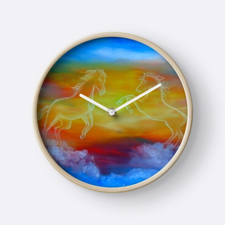 Wall Clock, artistic,decorative,items,fantasy,sky,horses,sunset,equine,equestrian,magical,majestic,blue,colorful,impressive,modern,beautiful,awesome,cool,home,office,wall,decoration,gifts,presents,ideas,for sale,redbubble
