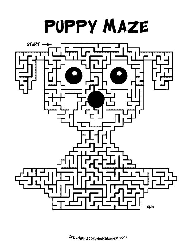 puppy maze activity sheet free coloring pages for kids printable colouring sheets - Free Kids Printable Activities