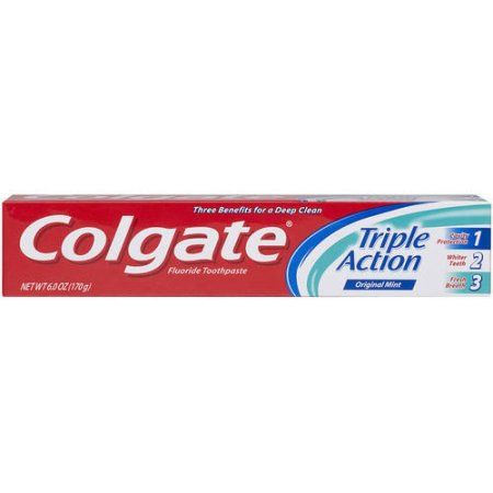 Colgate Triple Action Fluoride Toothpaste Original Mint, 6.0 OZ