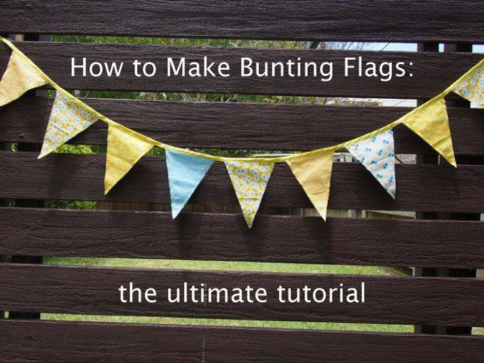 Bunting Flag Tutoria  50cm at each end of the bias binding for tying up.  Space the flags 2cm apart and you should get about 11 flags onto 3m of bias binding.  Then, fold the bias binding over the top and baste everything together.