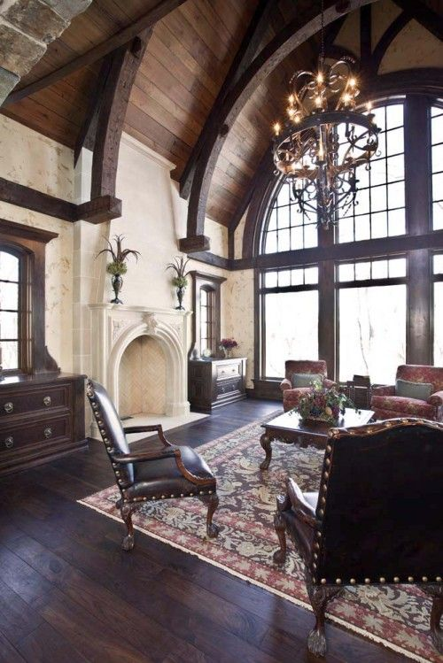 lovely high ceiling living room fireplace | Wow! Love the ceilings/windows and floor. Love it all ...