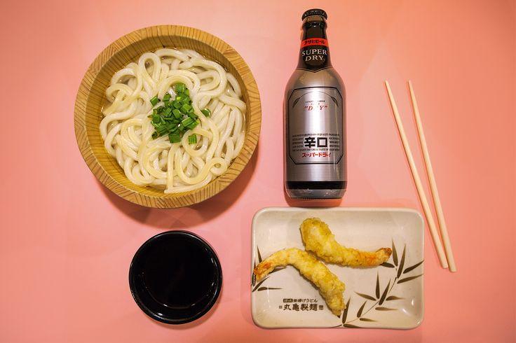 Japanese cheap eats: udon, asahi beer and shrimp tempura