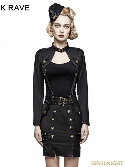 Black Gothic Military Uniform T-Shirt for Women