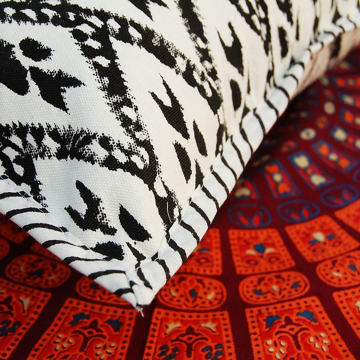 Hand Block Printed Cotton Canvas Cushion Cover Ikat Print Pillow Cover Case by ArtofPinkcity on Etsy