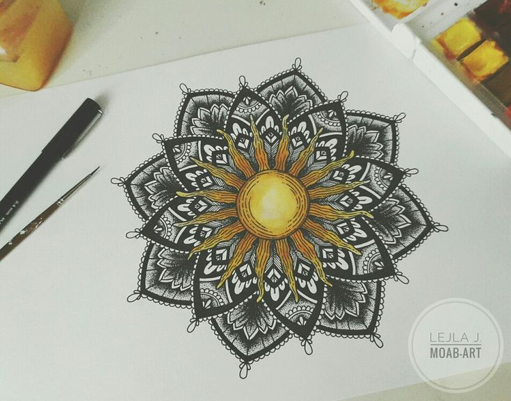 #mandala #drawing #dotwork #blackwork #tattoo #design #aquarell #watercolor #sun #geometric #abstract . Artwork done by Lejla Jusufi