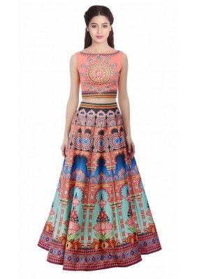 Bollywood Style - Party Wear Pink Digital Printed Lehenga Choli - KZL-023