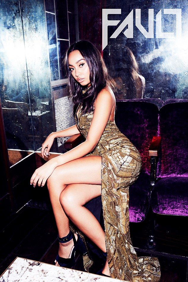 Gorgeous in gold: Leigh-Anne Pinnock opted for an equally sexy look as she perched on the ...
