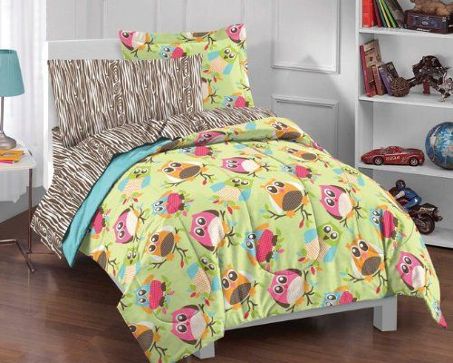 Mara- tired of Zebra?? Lime green bedding with an owl print for children. This lime green bedding has pinks, orange and other colors throughout. The perfect green multicolored bedding for kids. Owls are popular with girls and this is the perfect bedding set for redecorating a tween or teen room.