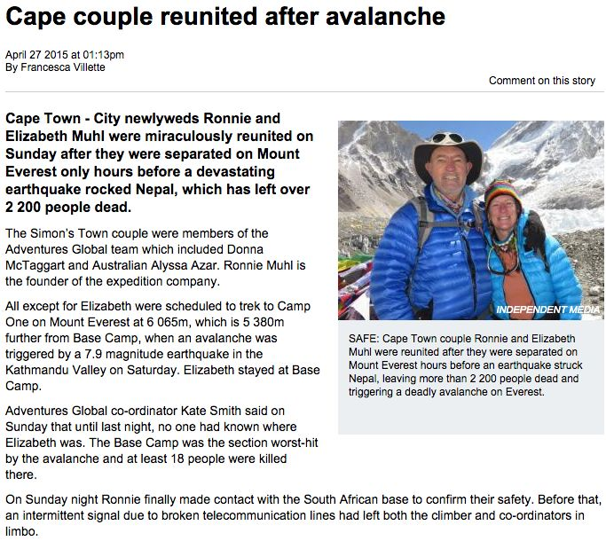 Ronnie and Elizabeth Muhl survived the Everest Avalanche 2015