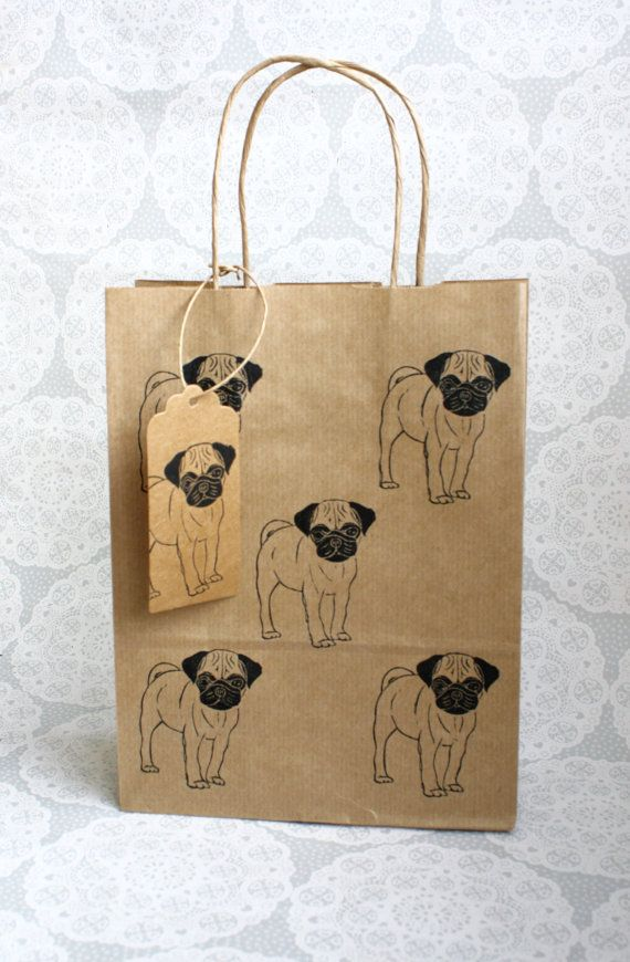Pug gift bag set Medium kraft bag with matching by ThePrintBee