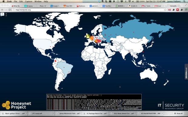 """A """"Real-Time Cyber-Attack Map""""! Not sure how accurate it is but the #HoneynetProject is onto something really #cool. See #CyberAttacks as they happen!"""