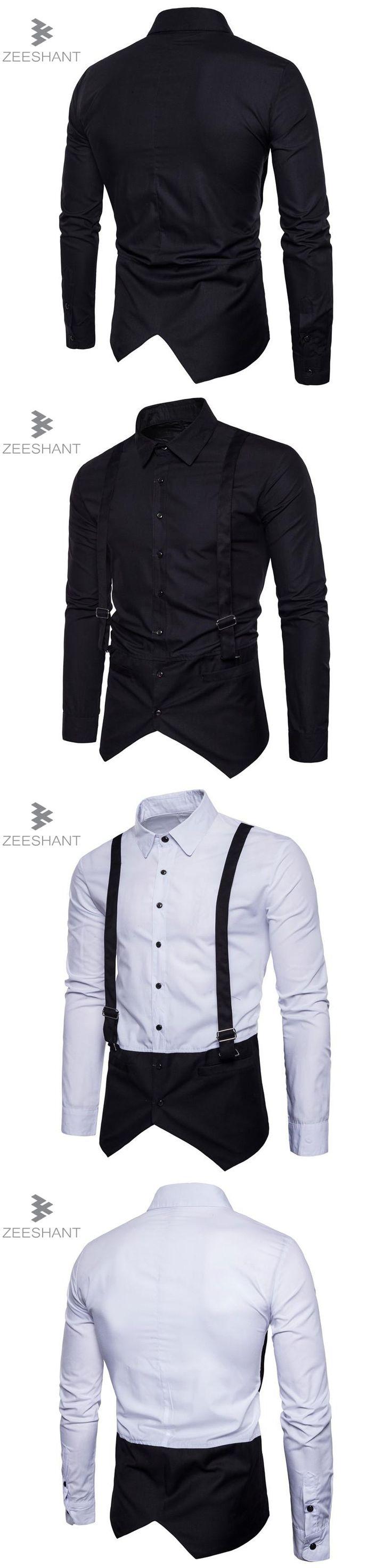 Zeeshant 2017 New Men's Shirts Wedding Party Dress Long Sleeve Shirt Silk Tuxedo Shirt Men in Men's Tuxedo Shirts XXL