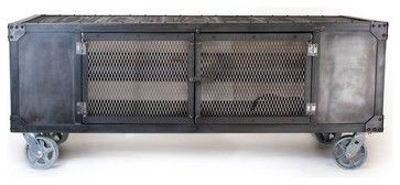 Industrial media cabinet, TV stand, entertainment center traditional furniture