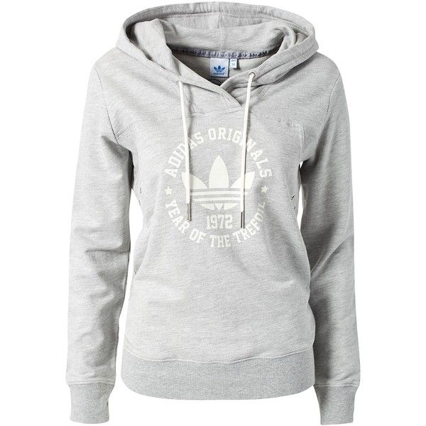 Adidas Originals Collegiate Hoodie (305 BRL) ❤ liked on Polyvore featuring tops, hoodies, jackets, sweaters, shirts, grey, jumpers & cardigans, sports fashion, adidas shirt and hooded pullover
