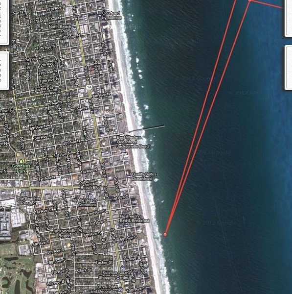 great white shark GPS. When Great White Shark MARY LEE decides to come close to shore right in the breakers. Thanks to Chris Fisher he called the police to alert them she out there .that her tracker was telling him she was too close in!!!