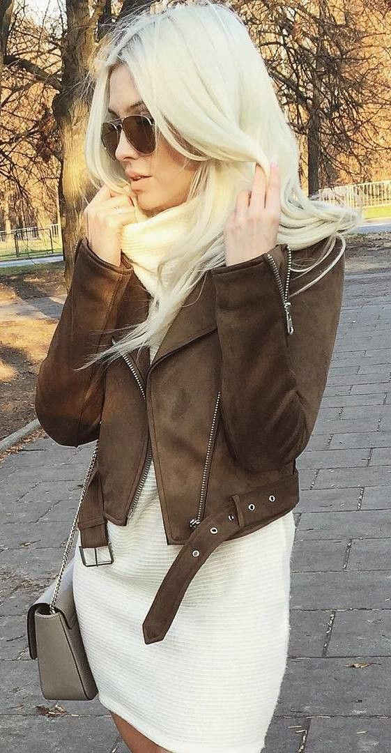 how to wear a brown biker jacket : bag and sweater dress