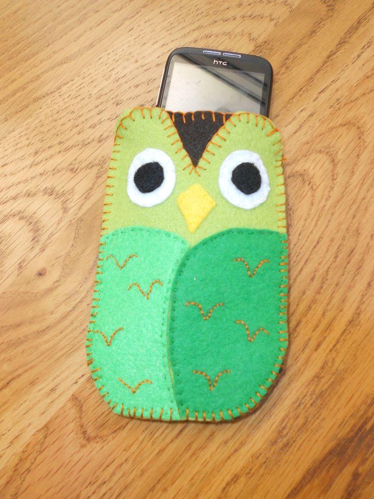 owl felt phone cover