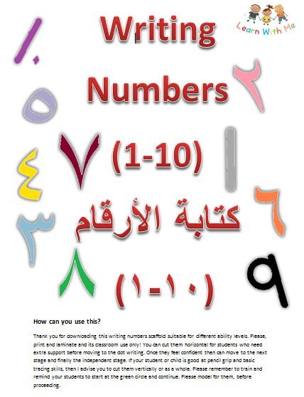 www.arabicplayground.com Writing Numbers in Arabic 1-10 by Learn With Me