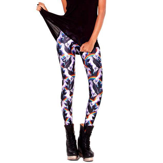 Unicorns and Rainbows Animal Digital Print Comfortable Stretch Leggings for Women