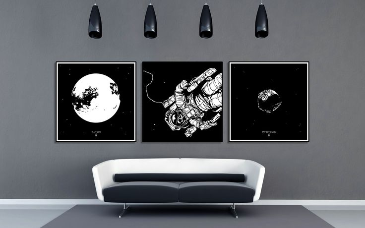 combine variety of Solar System moons with floating Astronaut print. Check out my shop!  #astronomy #space #astronaut #deadastronaut #moon #titan #proteus #nasa #walldecor #artprint #scifiart