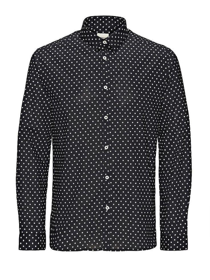 PREMIUM by JACK & JONES - Langärmeliges Hemd von PREMIUM - Slim fit - Standardkragen - Abgerundeter Saum mit Einsätzen an den Seiten - Komplett bedruckt - Kunststoff-Kragenstäbchen 100% Baumwolle...