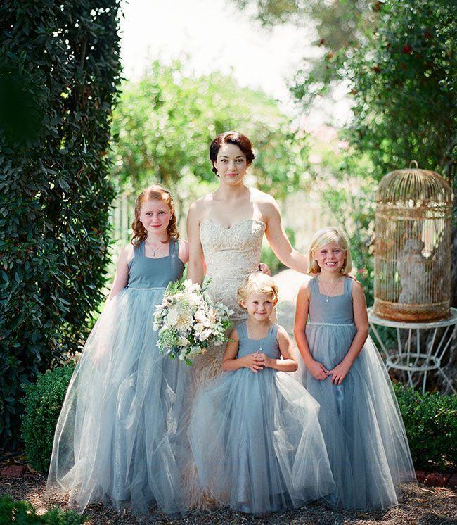 Dreamy powder blue #flower #girl tulle dresses.