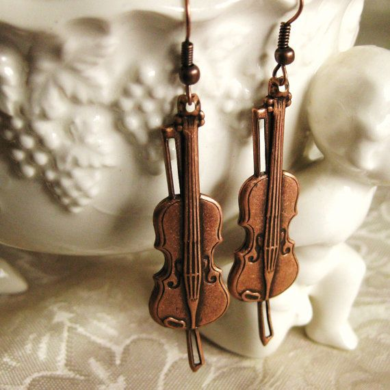 Violin Earrings Vintage Copper MUSIC to MY EARS Orchestra  Fiddle Music Earrings Violin Jewelry Handmade Birthday Gift Music Gift for Her