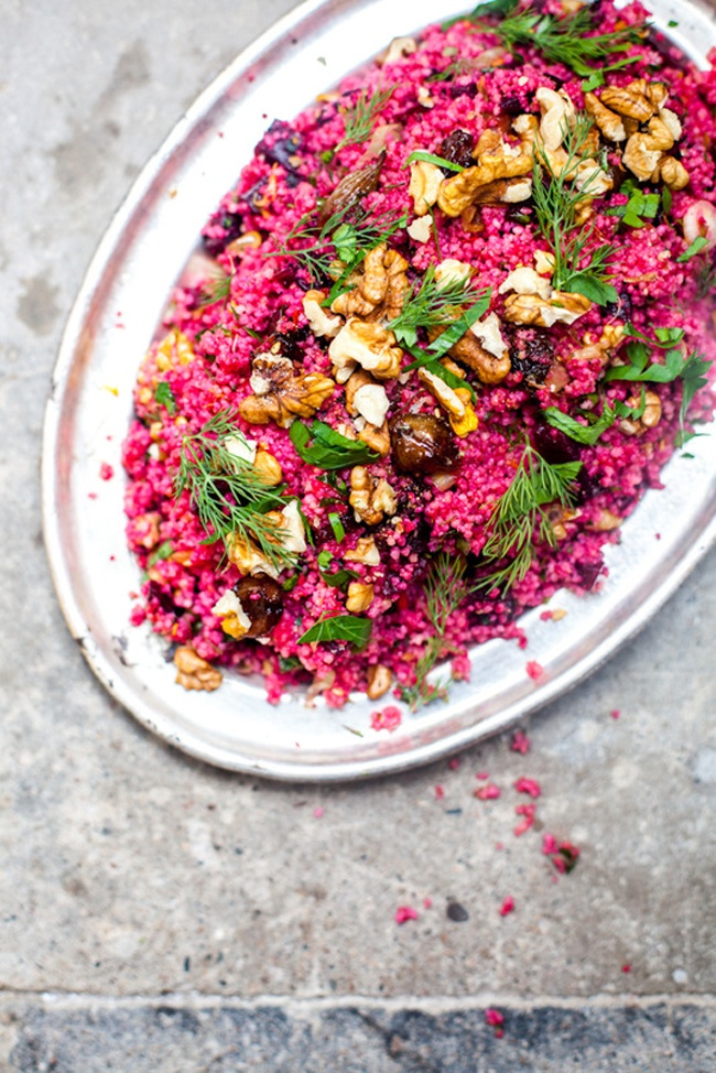 beet couscous. Yum!!!!!!!! Make again! We used a mix of quinoa and couscous because that's what we had. Loved it. Just make sure to take off the beet skins next time because they were too bitter