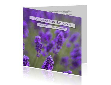 #Unieke #rouwkaart met een #veld van #lavendel en #witte #papierstroken.  #snellelevering #weekenddruk #zondagdruk #nietduur