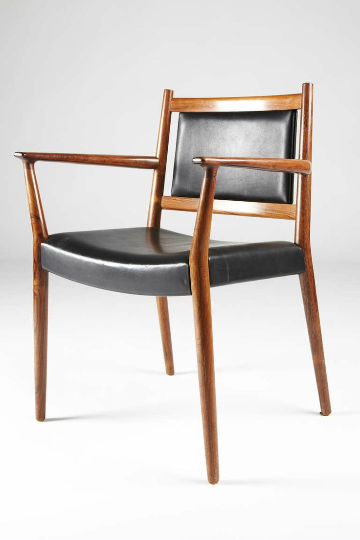 Industrial leather dining chair - Steffan Larsen Rosewood And Black Leather Dining Chairs