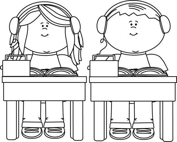 clip art black and white | Black and White School Kids Listening to Books Clip Art Image - black ...