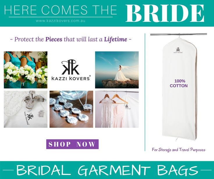 Here comes the bride | Protect the Pieces that will last a Lifetime in a 100% Cotton Garment Cover. Breathable. Acid-Free and will prolong the longevity of your gown. For travel and storage purposes.