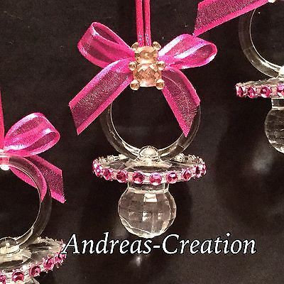 12 Pacifiers Baby Shower Favors Pink Clear Party Decorations For Girl