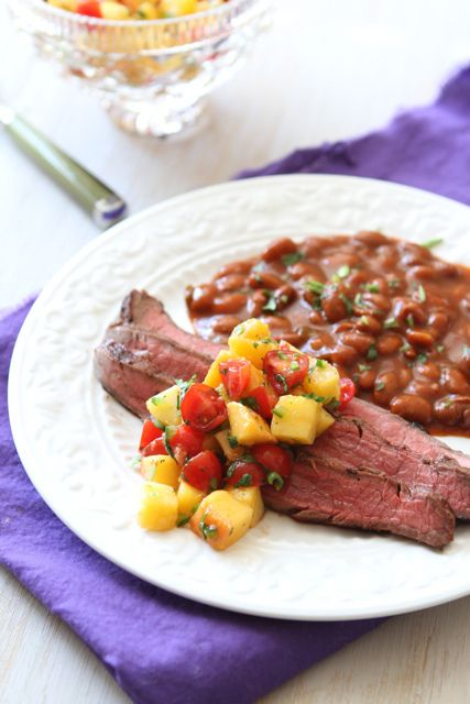 Beer-Marinated Grilled Flank Steak with Peach & Tomato Salsa  by CookinCanuck #Flank_Steak #CookinCanuck