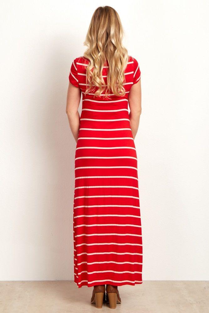 Red Beige Striped Maternity Maxi Dress