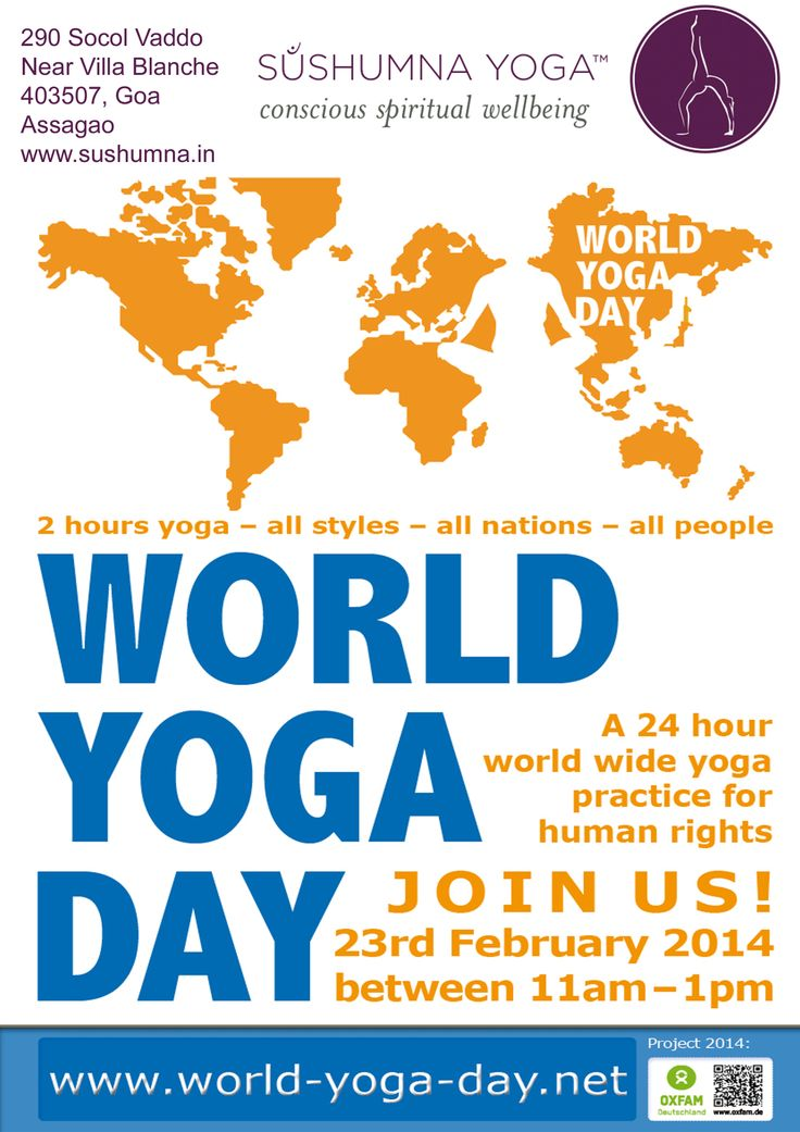 Big Shout out to all Yoga Lovers - Practitioners, Teachers, Beginners, Novices!! We invite you for World Yoga Day on Feb. 23rd 11:00 am -1:00 pm - 24 Hours of Yoga around the Globe ! All donations go to the people of Syria, Lebanon and Jordan! Enjoy a 2 hours class of Vinyasa Flow taught by Sonja Appel!   #worldyogaday #charity #yogalovers #vinyasa #sonjaappel #oxfam #cleanwater #sanitation #hygiene #stopdisease #sushumna #goa