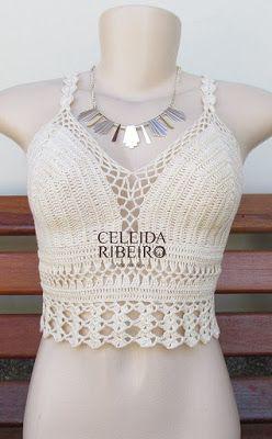 Celeida Ribeiro: Cropped de crochê