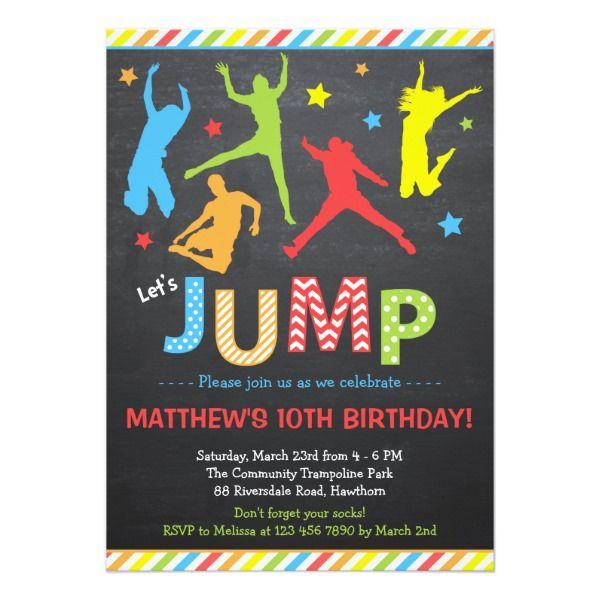 jump invitation trampoline birthday