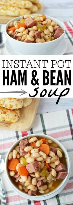 You will love how simple this delicious Instant Pot ham and bean soup recipe is! It's hearty and filling. Perfect for a cold day! Give this a try. #instantpot #pressurecooker #hamsoup #beansoup